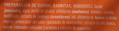 Barrita de surimi - Ingrédients