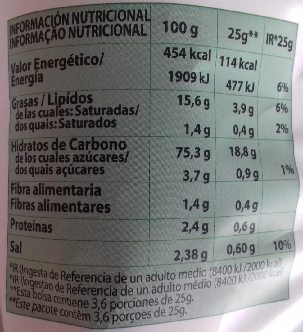 Apetinas Vegetales - Información nutricional