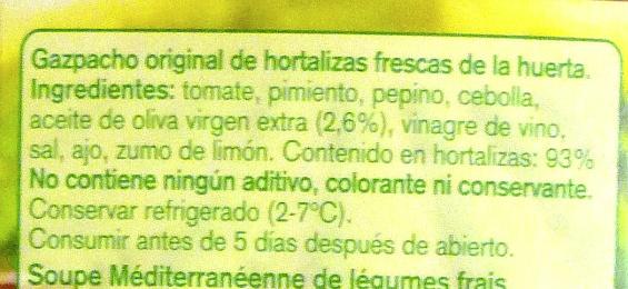 Gazpacho Original - Ingredientes