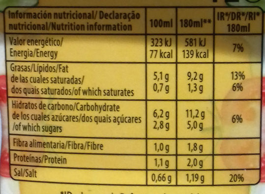 Salmorejo envase 1 l - Nutrition facts - es