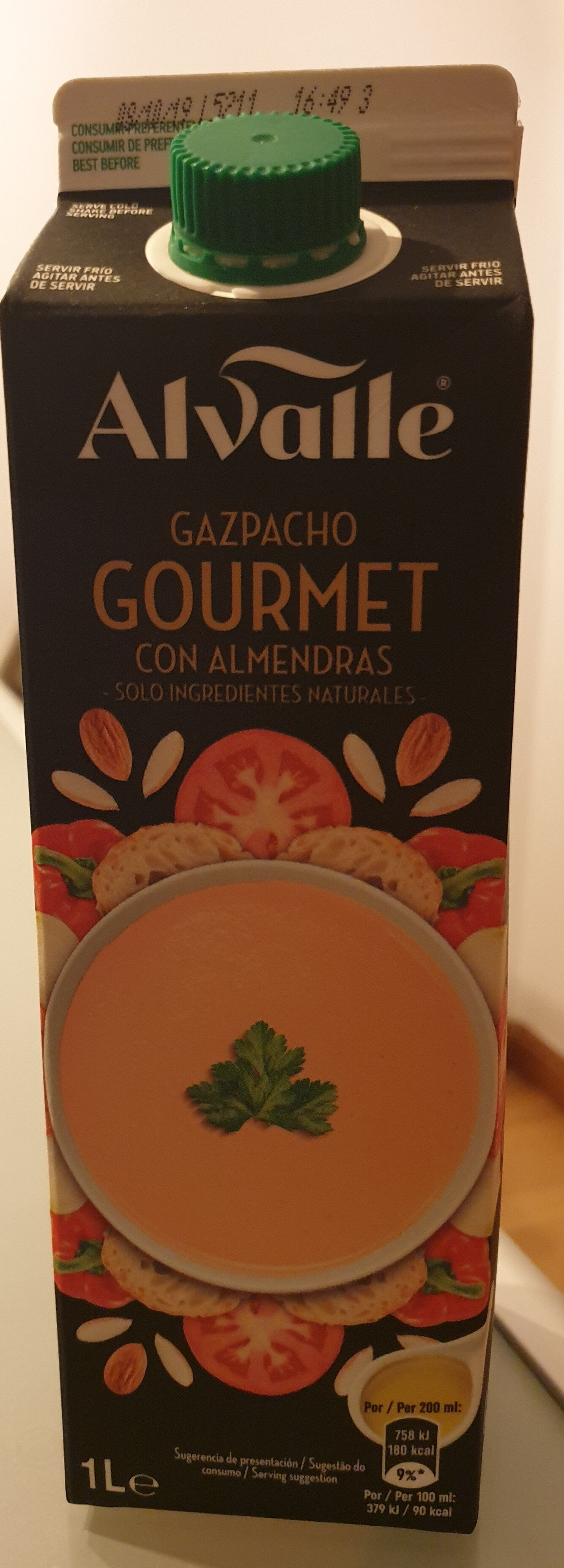 Gazpacho gourmet con almendras envase 1 l - Producto