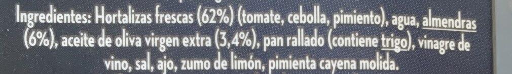 Gazpacho Gourmet - Ingredientes - es
