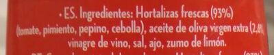 Alvalle Gazpacho Original 250ML - Ingredientes - fr