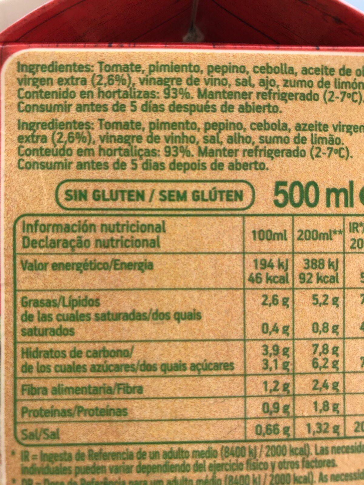 Gazpacho original sin gluten envase 500 ml - Ingredientes - fr
