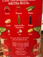 Gazpacho original pack ahorro 2 unidades sin gluten envase 1 l - Ingredientes - fr