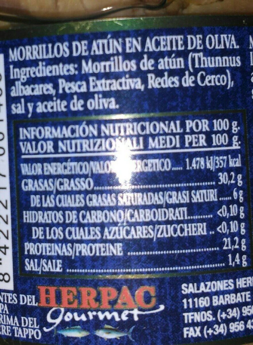 Morrillos de atún - Información nutricional - es