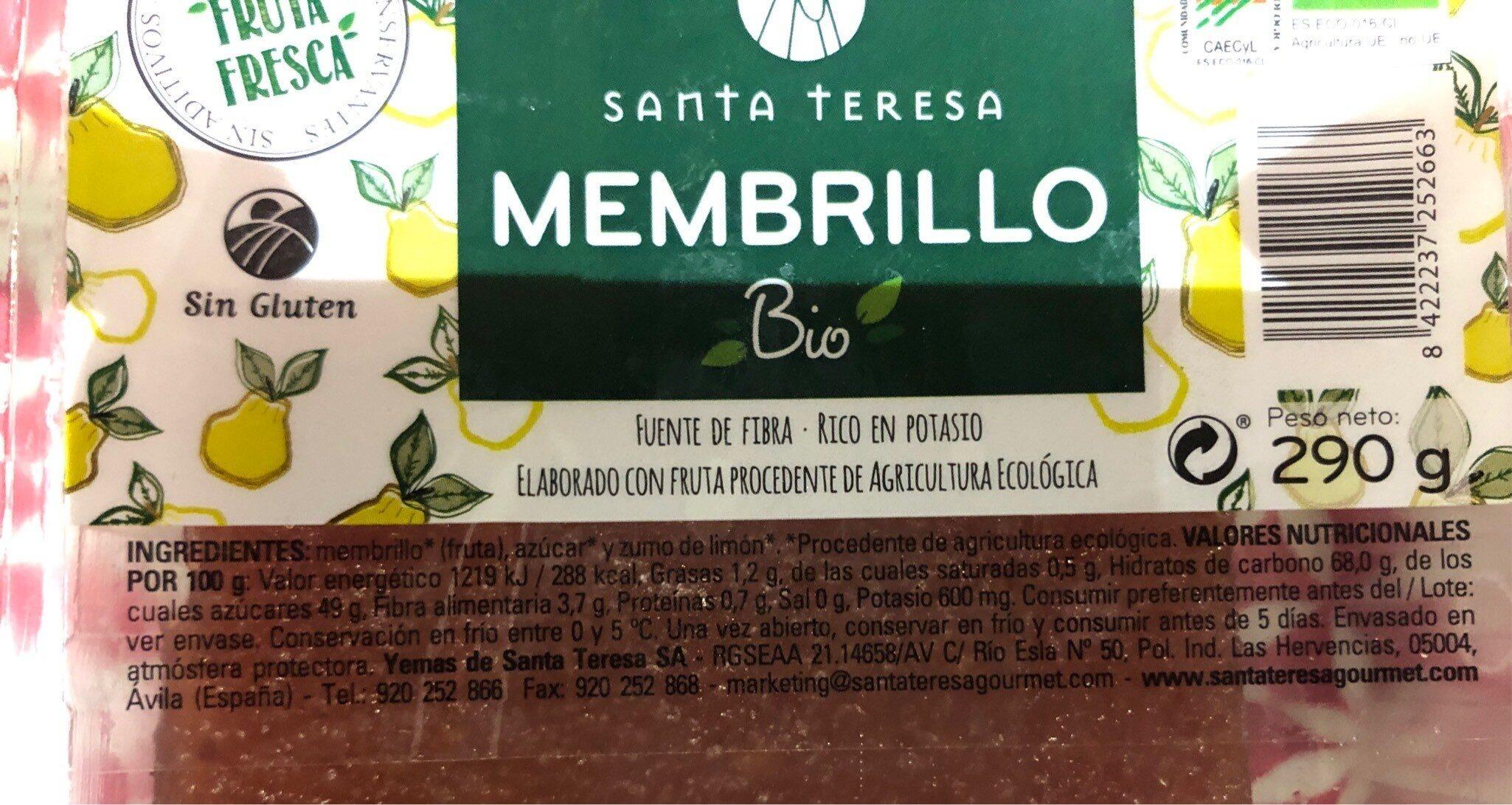 Membrillo sin gluten ecológico envase 290 g - Información nutricional