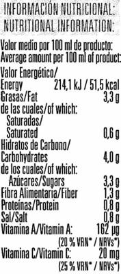 Gazpacho con tomate rama con aceite de oliva virgen extra - Información nutricional