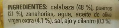 Crema de calabaza con puerro y un toque de cilantro - Ingredients