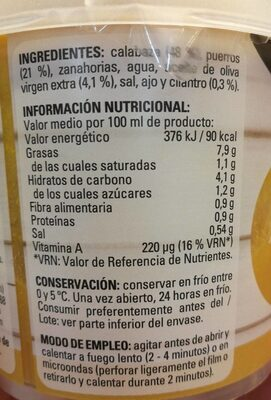 Crema de calabaza con puerro y un toque de cilantro - Nutrition facts