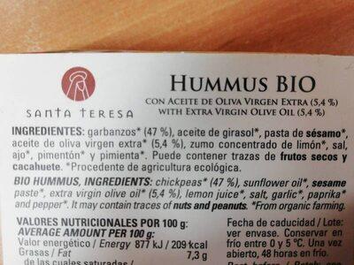 Hummus Bio - Ingredientes