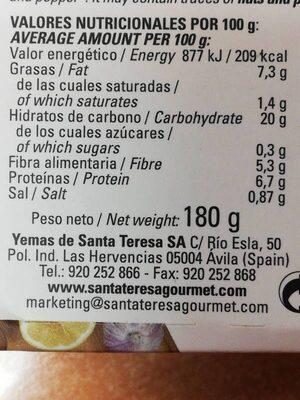 Hummus Bio - Información nutricional