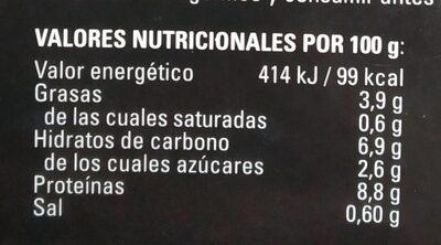 Pastel de Centollo - Información nutricional