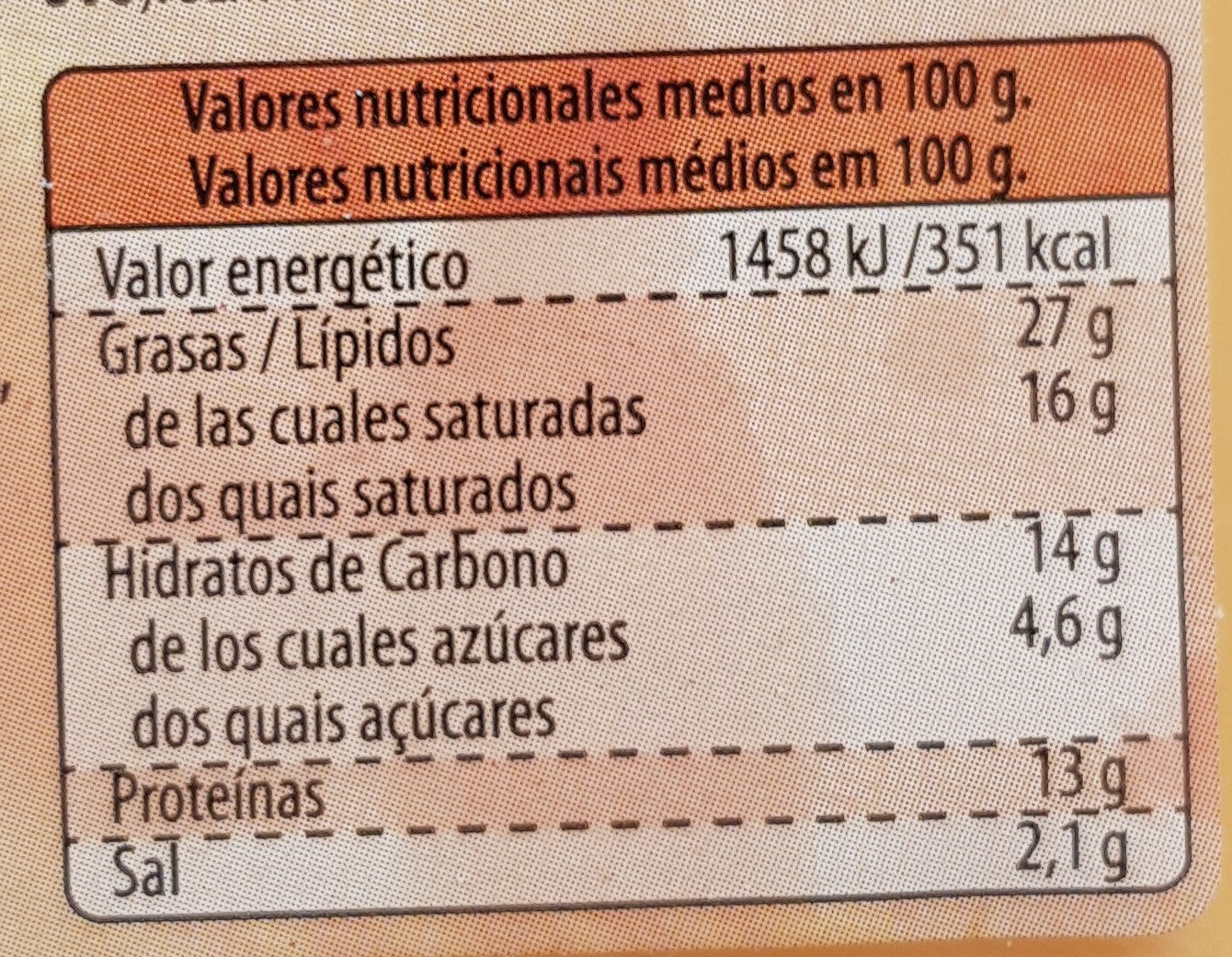 Lonchas con Queso Cheddar - Informations nutritionnelles