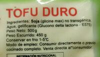Tofu Duro - Ingredienti - es