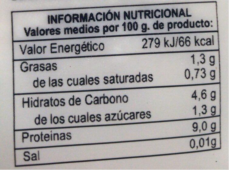 Tofu Duro - Valori nutrizionali - es
