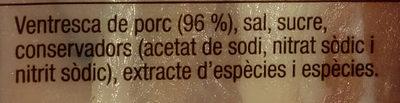 Cansalada viada curada - Ingredients - ca