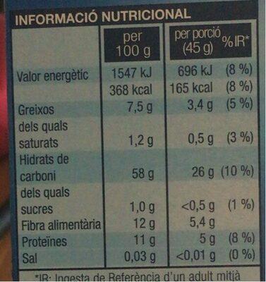 Flocs de civada - Informació nutricional - es
