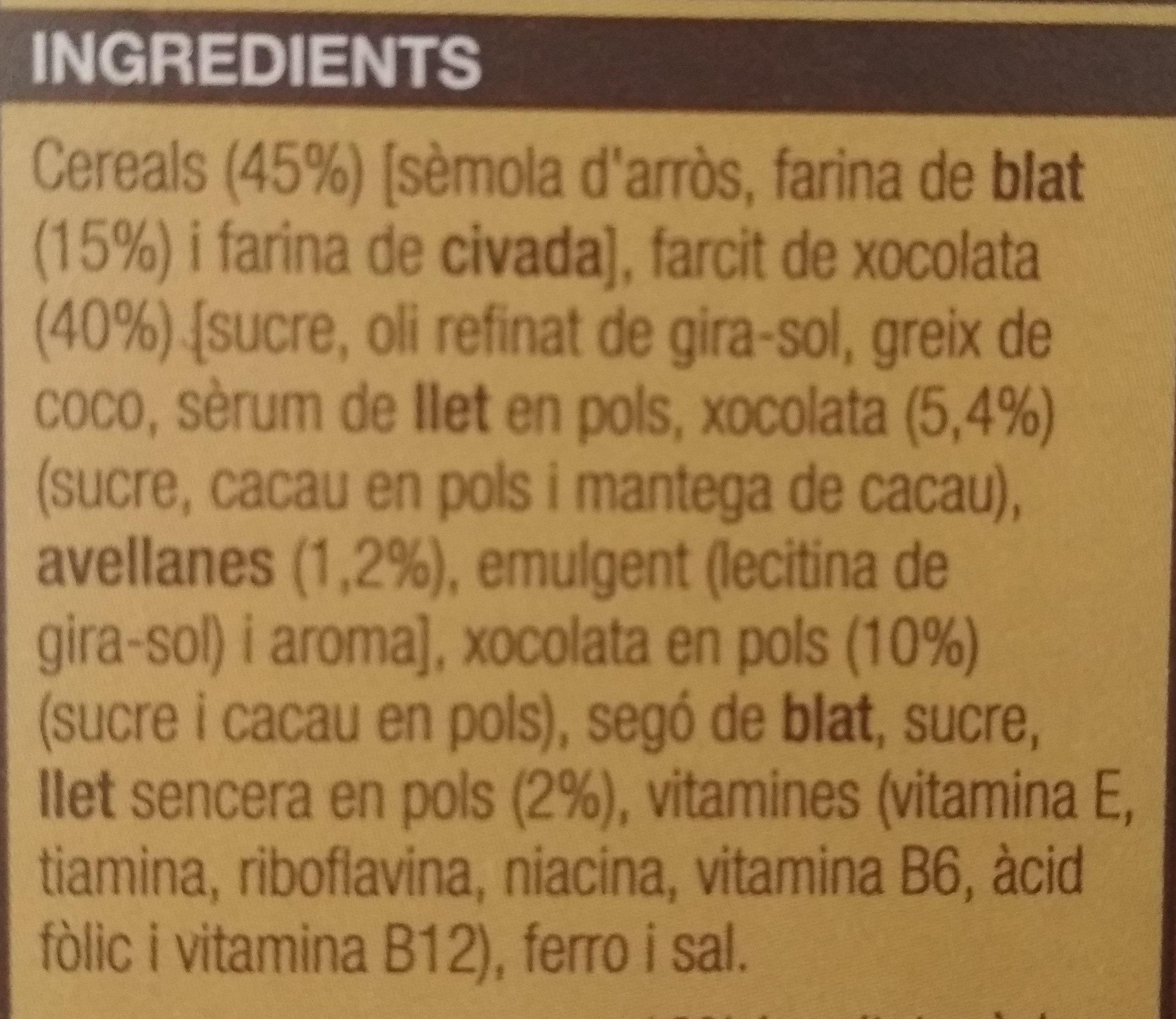 Cereal farcits de xoco - Ingredients - ca