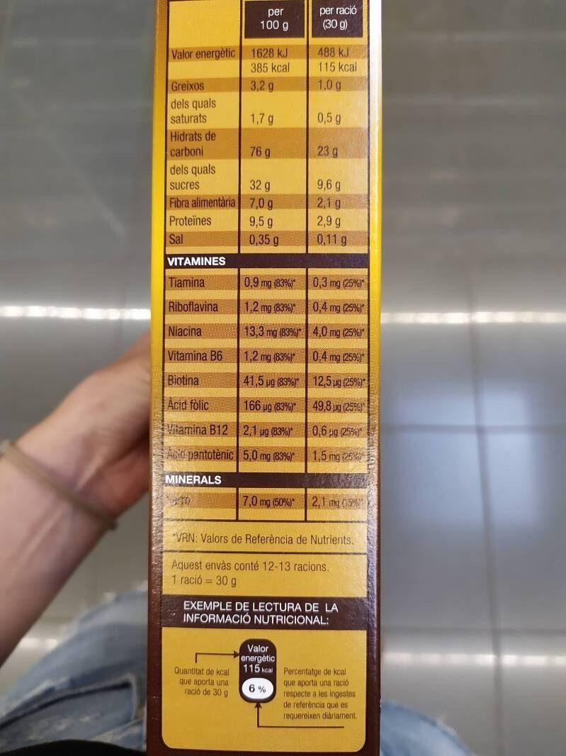 Flocs de xoco - Información nutricional