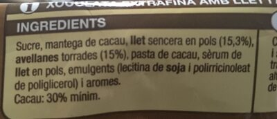 Xocolata amb llet amb avellanes - Ingredientes - ca