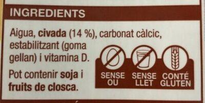 Beguda de civada - Ingredients - ca