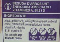 Beguda d'arros - Ingredients - ca