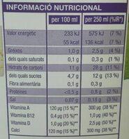 Beguda d'arros - Informació nutricional - ca