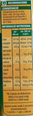 Suc de taronja - Información nutricional - es