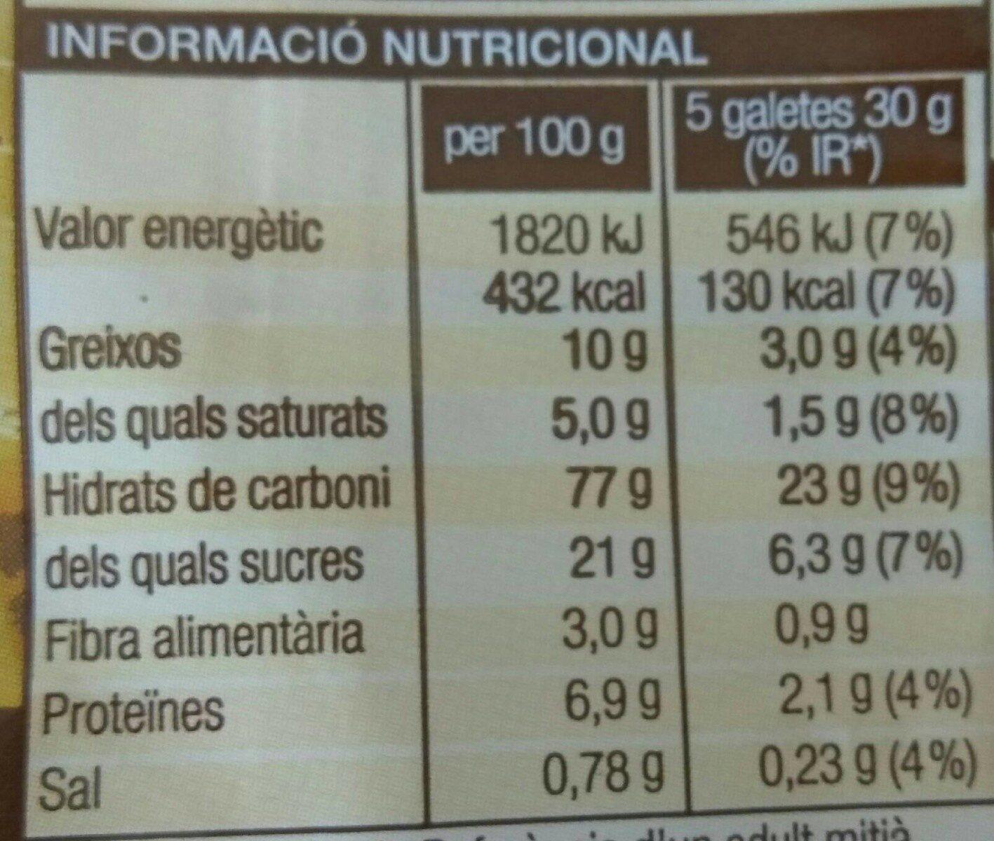 GALETES TORRADES BONPREU - Información nutricional