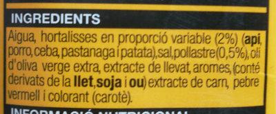 Brou de pollastre - Ingredientes