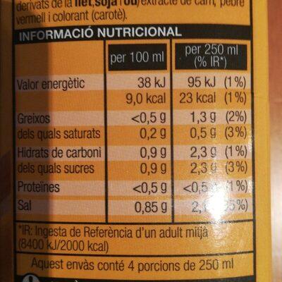 Brou de pollastre - Información nutricional