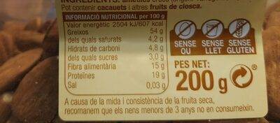 Ametlles - Nutrition facts - ca
