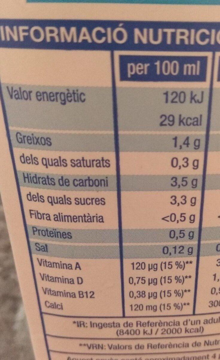 Beguda d'ametlles - Informació nutricional