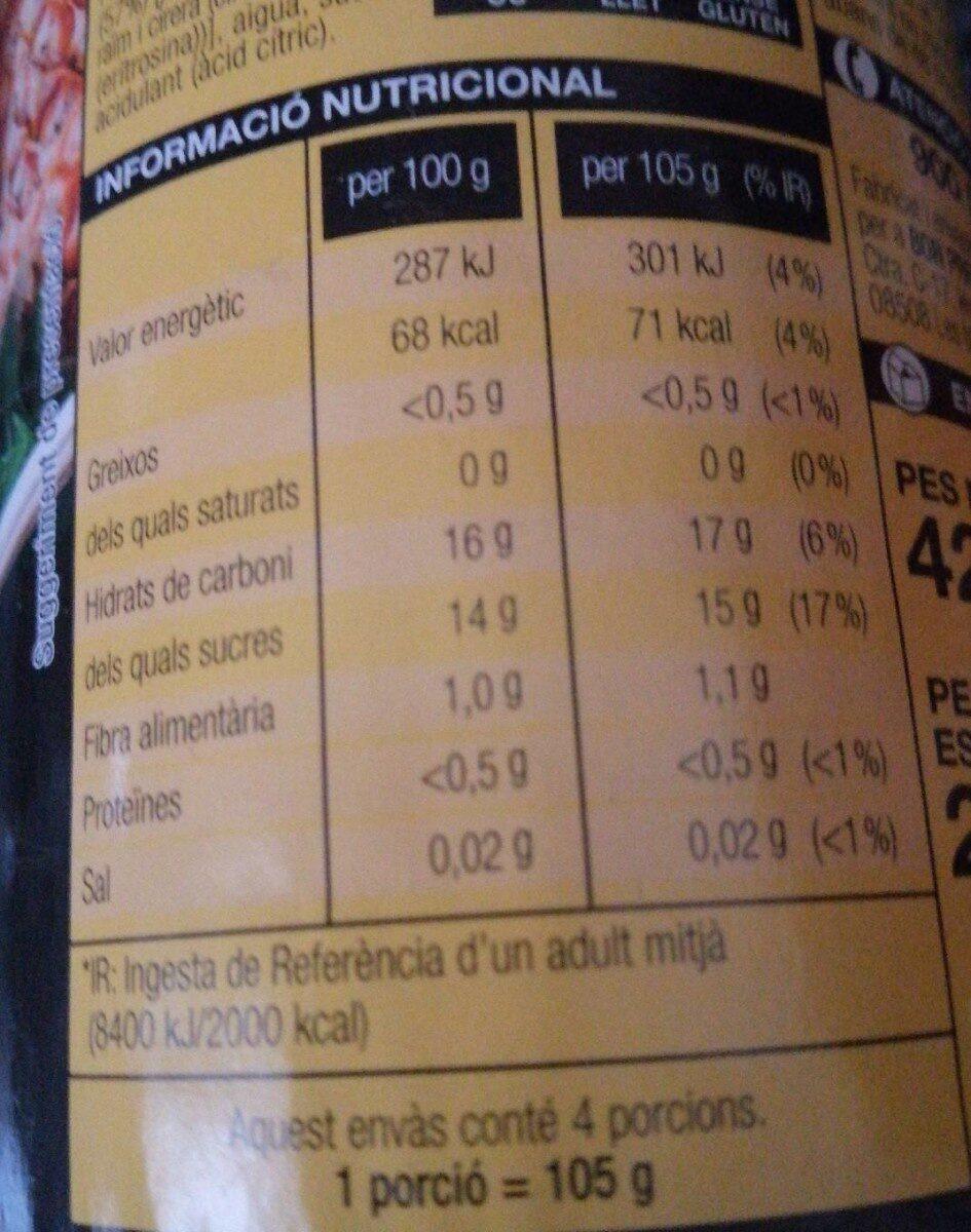 Macedònia de fruita en almívar - Informations nutritionnelles - es