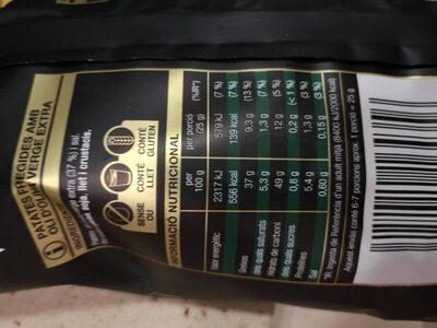 Patates 100% oli d'oliva verge extra - Informació nutricional - ca