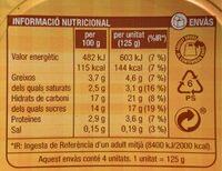 Crema sabor de vainilla - Voedingswaarden - ca