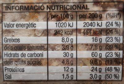 Pizza Barbacoa - Voedingswaarden - es