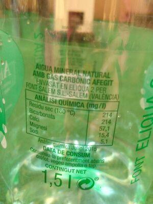 Aigua mineral natural amb gas - Información nutricional - es