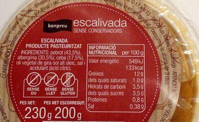 Escalivada sense conservants - Nutrition facts