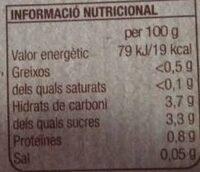 Tomaquet rallat - Informació nutricional
