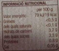 Tomaquet rallat Bonpreu - Informació nutricional