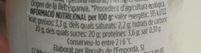 Iogurt natural amb nabius - Informació nutricional