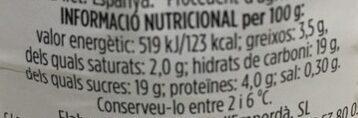 iogurt natural amb taronja - Informació nutricional