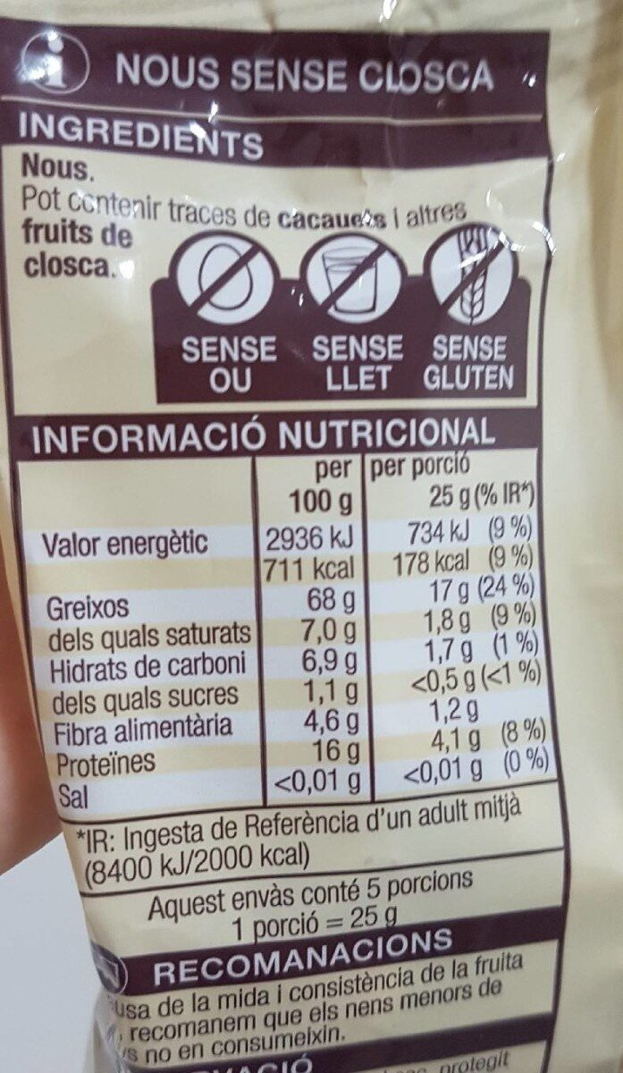 Nous/Nueces - Nutrition facts - es