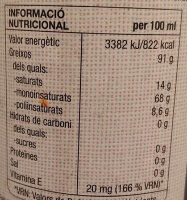 Oli Oliva Verge Extra Eco - Nutrition facts - es