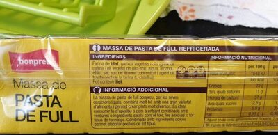 Pasta de full - Ingredients - es