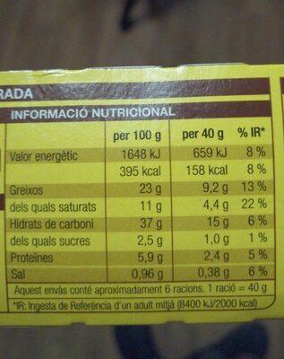 Pasta de full - Informació nutricional