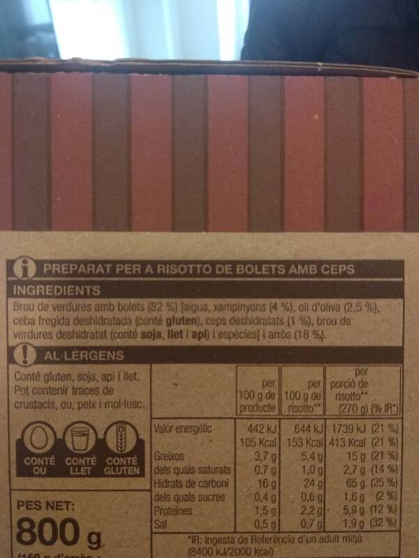 Risotto de bolets - Ingredients