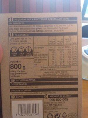 Risotto de bolets - Informació nutricional